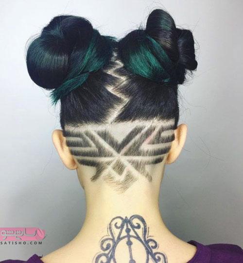 مدل مو با قسمت تراشیده شده جالب