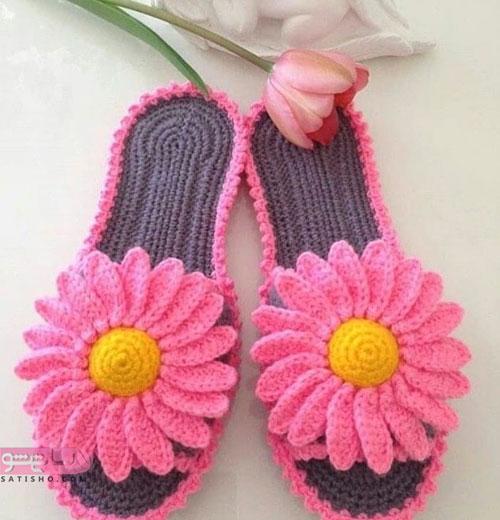 کفش بافتنی زنانه و دخترانه صورتی رنگ