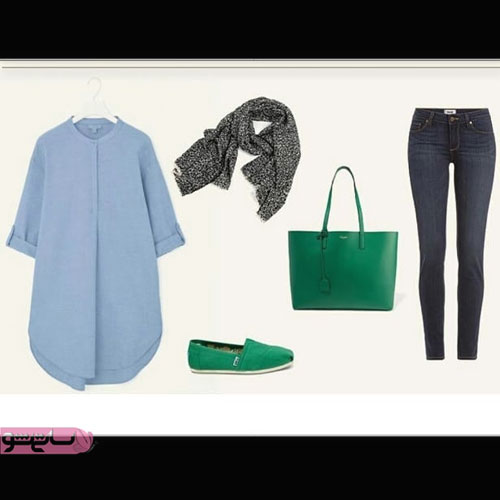 مدلهای پیراهن لی ست شده با کفش و کیف سبز