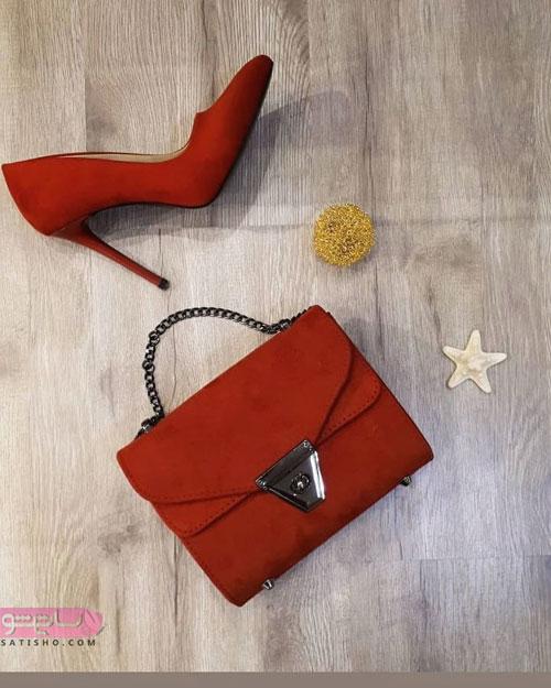 مدل کیف و کفش ست مجلسی قرمز رنگ