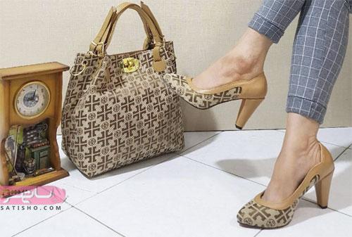 ست کیف و کفش شطرنجی زنانه