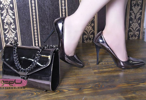 عکس کیف و کفش ست دخترانه مجلسی مشکی ورنی