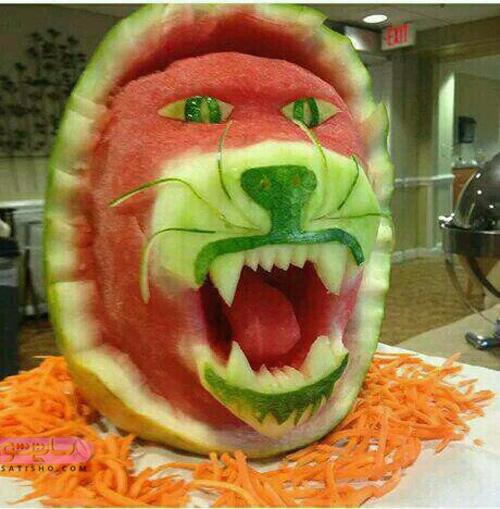 طراحی و تزیین هندوانه به شکل حیوان
