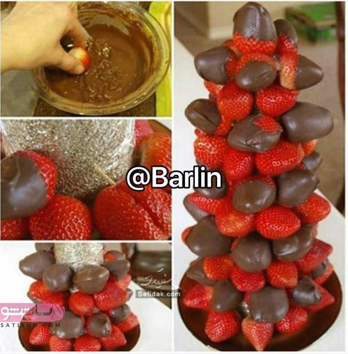 مدل میوه آرایی جدید با توت فرنگی شکلاتی
