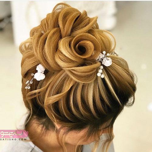 مدل شینیون عروس به شکل گل زیبا 98