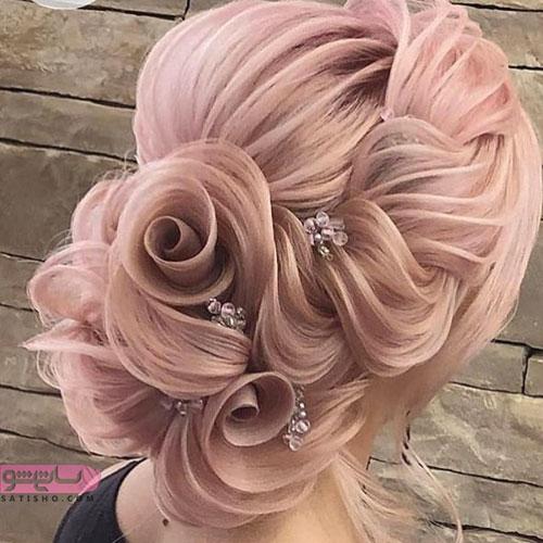 مدل موی رنگ روشن عروس به شکل فانتزی