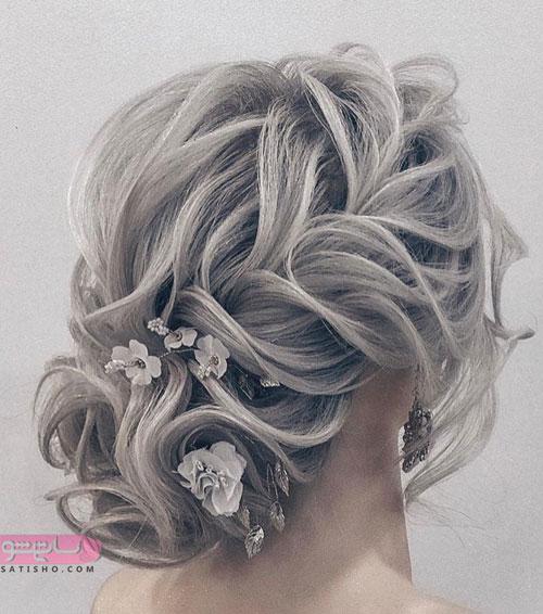 مدل شینیون حرارتی خاکستری رنگ موی عروس
