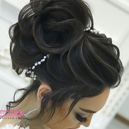 شینیون مناسب موهای مشکی و بلند عروس