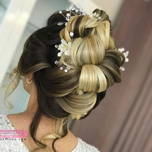 مدل شینیون جدید عروس اینستا با رنگ موی نسکافه ای