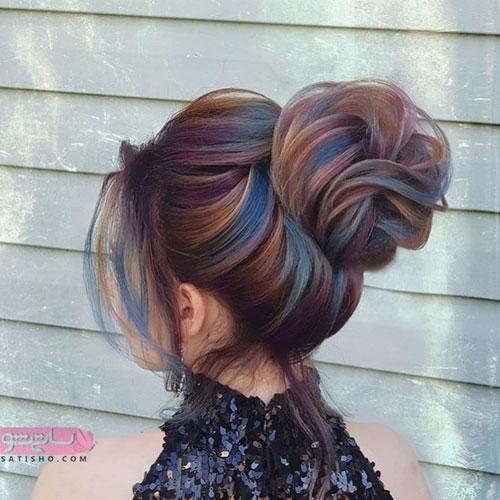 مدل موی زیبا و شیک برای عروس با رنگ فانتزی