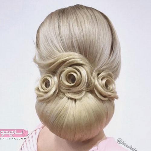 مدل آرایش موی روشن عروس به طرح سه گل