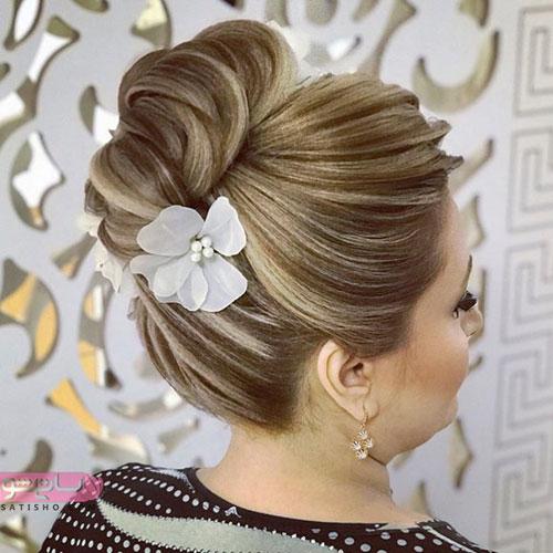 مدل ارایش موی عروس و شینیون با تزیین گل
