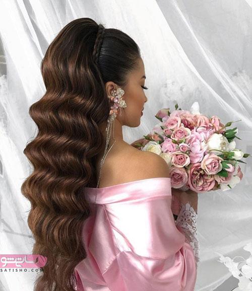 مدل موی نیمه باز تیره رنگ برای عروس ایرانی شیک