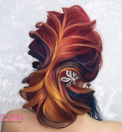 مدل موی عروس طرح کاغذی و خطی شرابی رنگ