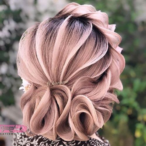شینیون موی مرجانی رنگ عروس به مدل خطی حرارتی