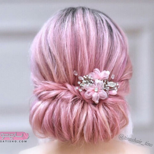مدل شینیون موی مرجانی رنگ عروس 98 شیک