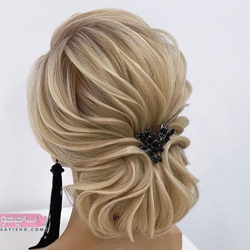 مدل موی کرم رنگ زنانه طرح خطی مناسب برای عروس
