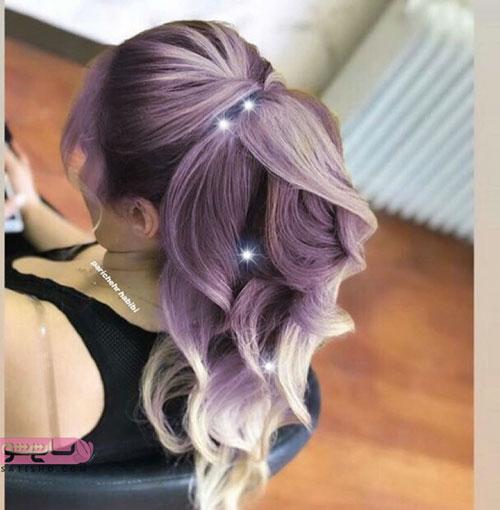 مدل موی شینیون مجلسی زیبا با رنگ شرابی کرمی