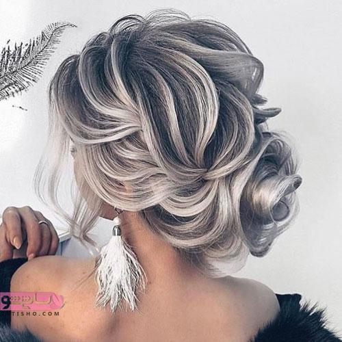 مدل شینیون موی خاکستری رنگ عروس