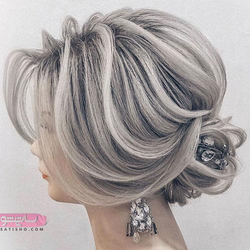 مدل شینیون باکلاس عروس ست مو و گوشواره