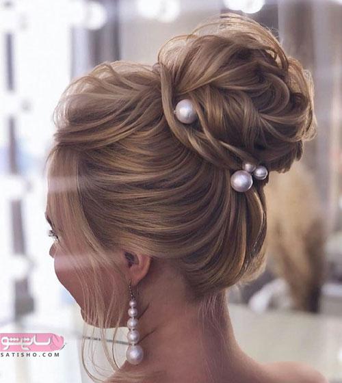شینیون مناسب موهای بلند دخترانه تزیین با مروارید سفید