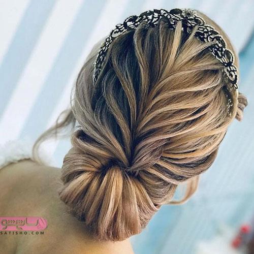 مدل موی جمع شیک جدید با تاج عروس