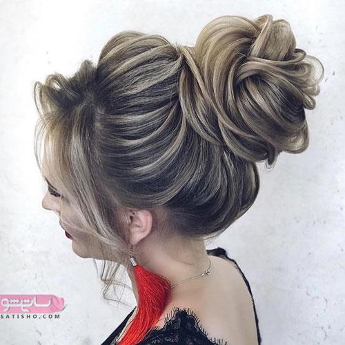 مدل شینیون خطی با ویو و زیتونی رنگ شیک