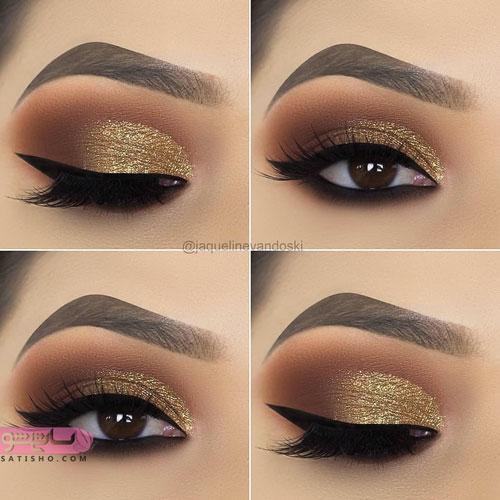 آرایش چشم قهوه ای با خط چشم غلیظ