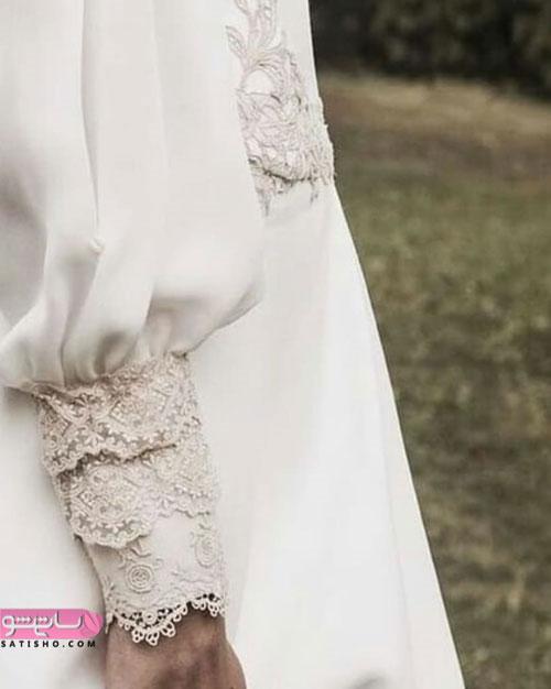 الگوی مدل آستین شومیز زنانه کارشده با گیپور