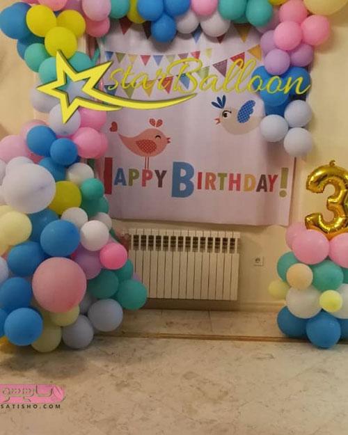 تزیین تولد با تم رنگارنگ با انواع بادکنک