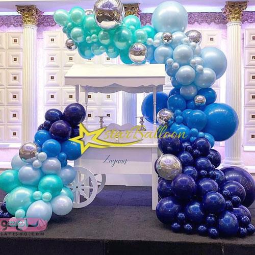 مدل تزیین اتاق تولد همسر با بادکنک های هلیومی و ساده آبی