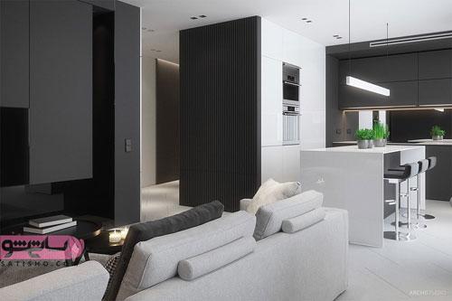ترکیب رنگ مشکی و سفید برای دکوراسیون خانه
