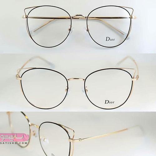 مدل عینک قاب مشکی و دایره ای بزرگ دخترانه