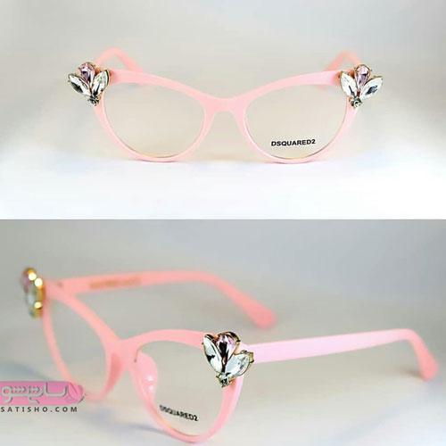 مدل فریم عینک طبی دخترانه دسته پلاستیکی صورتی طرح دار