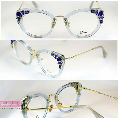 مدل فریم عینک طبی با قاب نیلی رنگ و نگین دار