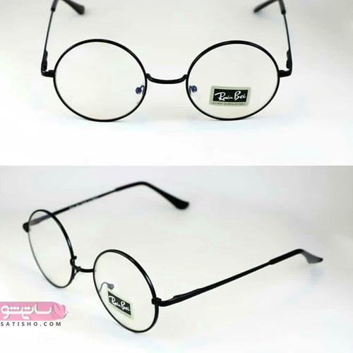 عینک دسته فلزی مشکی مدل طبی دخترانه