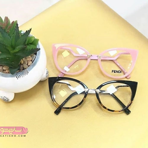 مدل عینک طبی صورتی و مشکی رنگ دخترانه