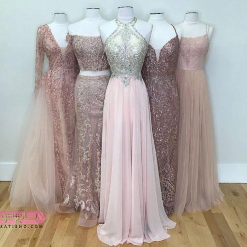 لباس مجلسی بلند زنانه رنگ روشن
