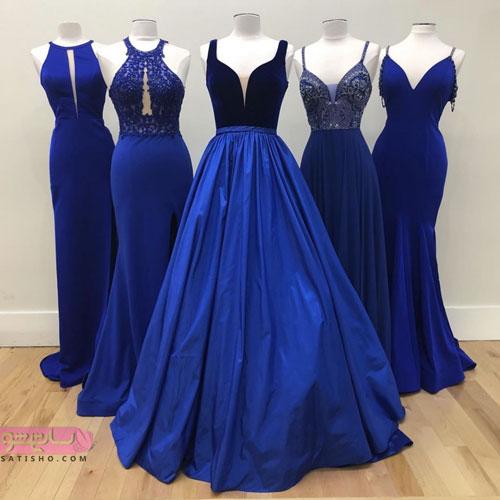 لباس مجلسی بلند به رنگ آبی کاربنی
