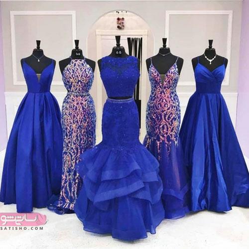 مدلهای دکلته لباس ساقدوشی به رنگ آبی کارنبی