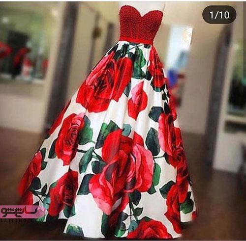 مدل لباس مجلسی دکلته گلدار