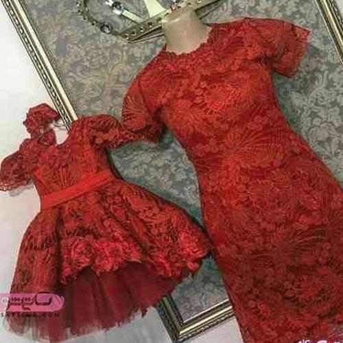 نمونه لباس ست مادر و دختر جدید با گیپور قرمز