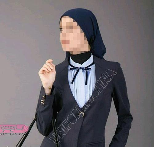 عکس مدل جدید مانتو اداری مشکی یقه باز زنانه