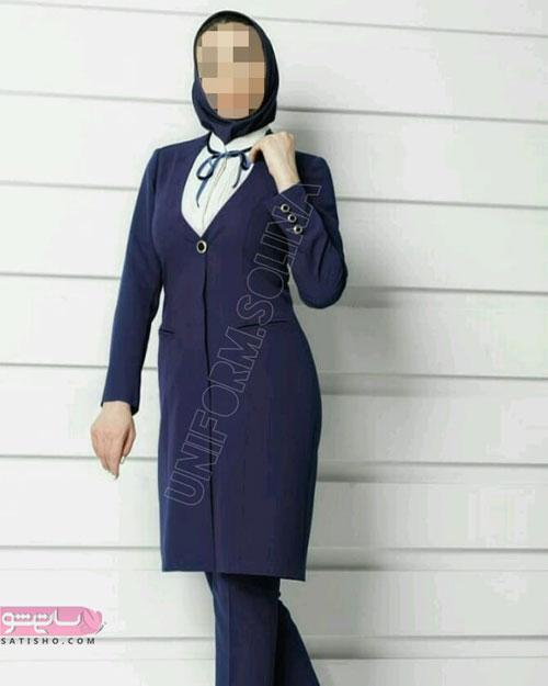مدل مانتو رسمی زنانه مشکی رنگ با یقه لاکچری