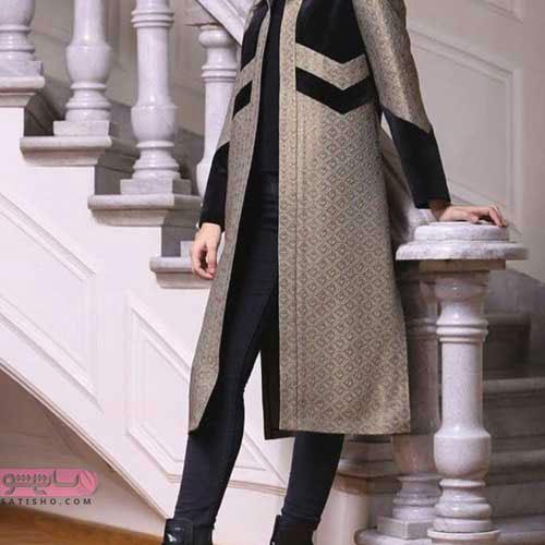مدل مانتو جلوباز دو رنگ برای دختران شاغل