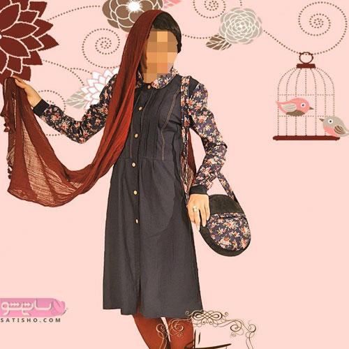 نمونه جالب مانتو سنتی با ست کیف زیبا
