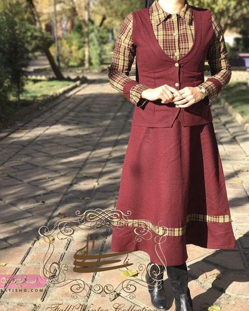 مدل مانتو سنتی کتان زرشکی رنگ