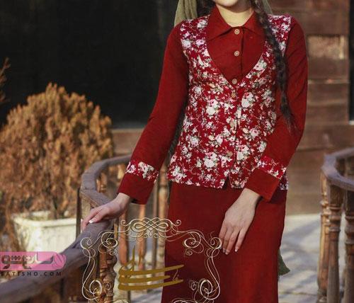 بهترین مدل مانتو حریر گلدار زرشکی