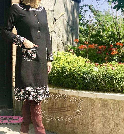مانتو رنگ مشکی با بالاتنه و آستین پارچه گلدار طرج سنتی
