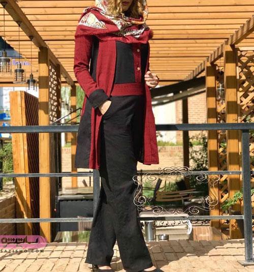 مدل مانتو سنتی مشکی زرشکی رنگ